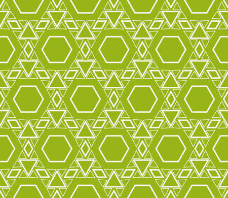 Sophisticated seamless geometric pattern based on repetitive simple line and shape forms vector illustration. For interior design, backgrounds, card, textile industry green coloring.