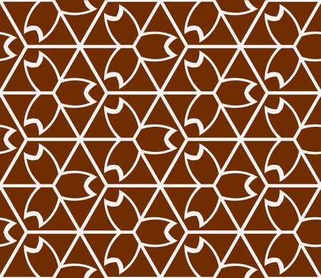 Virtual 3d cube in seamless vector pattern in brown color.
