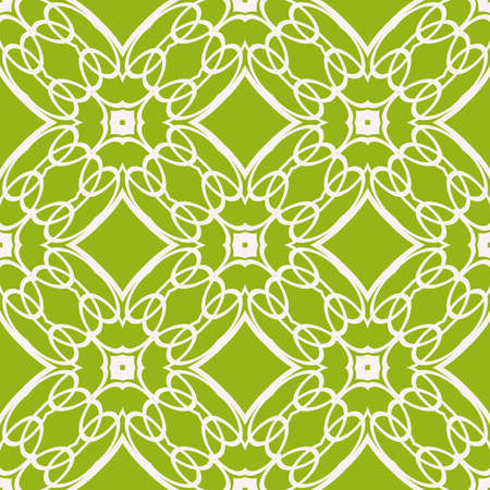 Seamless sophisticated geometric pattern based on repetitive simple line and shape forms in green color. Ilustração