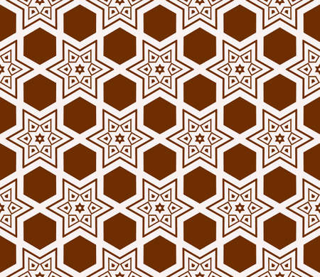 Seamless sophisticated geometric pattern based on repetitive simple forms in brown color.