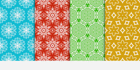 Set of seamless floral color pattern. ethnic ornament. Flower style. Vector illustration. Texture for design wallpaper, pattern fills, web page, banner, flyer. Illustration
