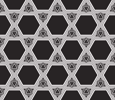 Complex geometric ornament. sophisticated geometric pattern based on repetitive simple forms. vector illustration for interior design, backgrounds, card, textile industry. black and white coloring Ilustração