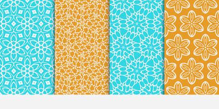 Seamless floral patterns set. Vector illustration. Texture for design wallpaper, pattern fills, web page, banner, flyer. ethnic ornament. blue and orange color Illustration