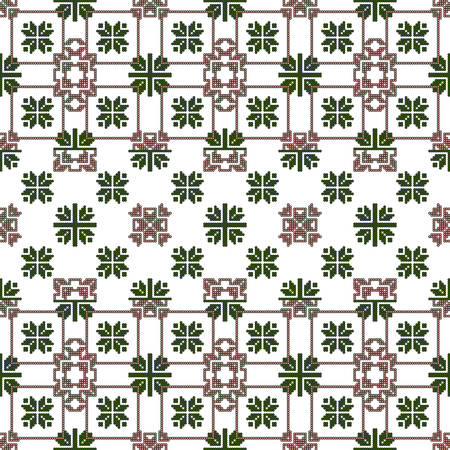Complex for embroidery geometric patterns in the style of pixel art. vector illustration