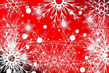 snowflake on red background. Christmas vector pattern design for greeting card, wallpaper, backdrop.
