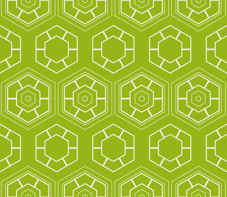 Sophisticated geometric seamless pattern based on repetitive simple line and shape forms vector illustration. For interior design, backgrounds, card, textile industry, green color. Illustration