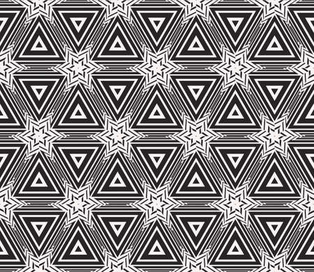Complex geometric ornament. Sophisticated geometric pattern based on repetitive simple forms. Vector illustration for interior design, backgrounds, card, textile industry. black and white coloring