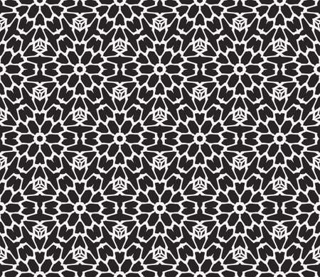 Sophisticated geometric seamless pattern based abstract line and shape vector illustration. For interior design, backgrounds, card, textile industry, black and white coloring.