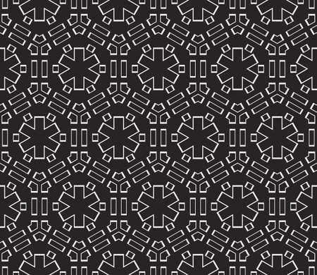 Complex geometric ornament. Sophisticated geometric pattern based on repetitive simple forms. Vector illustration for interior design, backgrounds, card, textile industry in black and white coloring