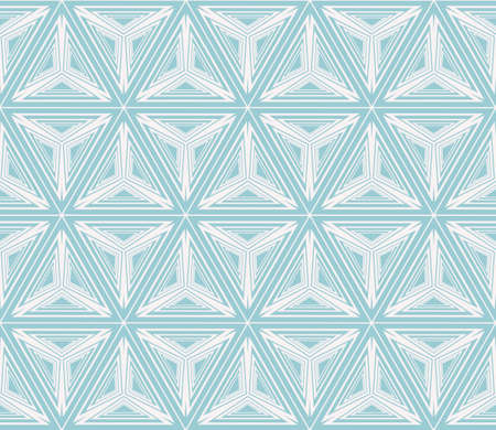Seamless vector pattern imitation pencil drawing in the form of engraving. Virtual 3d cube. Interior decoration, wallpaper, presentation and fashion design in blue color