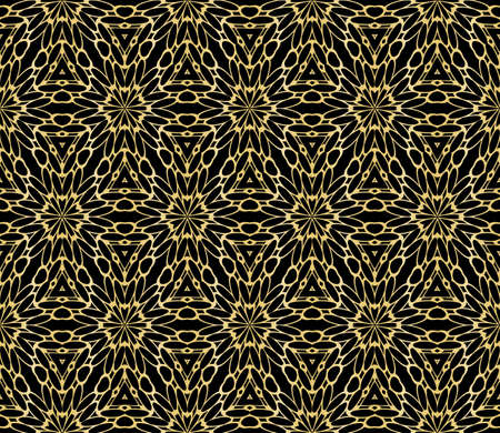 Seamless geometric floral pattern gold color vector graphic illustration.
