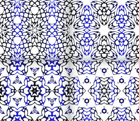 Seamless geometric floral pattern blue color.