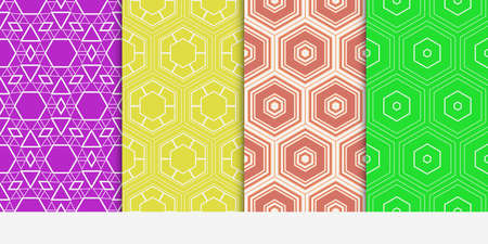set of 4 geometry seamless pattern. abstract geometry shape triangle, hexagon. vector illustration. modern ornament. For design, wallpaper, background fills, card, banner, flyer. color Reklamní fotografie - 99948392