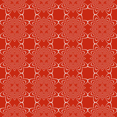 Sophisticated geometric seamless pattern based on repetitive simple forms vector illustration. For interior design, backgrounds, card, textile industry, red coloring. Ilustração