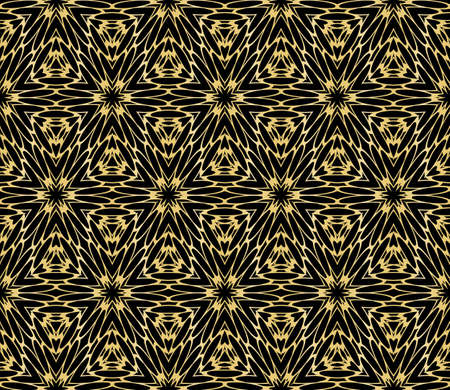 Seamless geometric floral pattern. gold color. vector graphic illustration. Ethnic arabic indian ornament. For wallpaper, brochure, web page background.