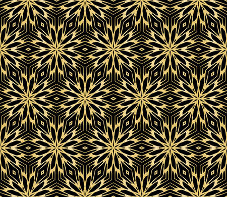 Floral Seamless Pattern Gold Color Vector Graphic Illustration Ethnic Arabic Indian Ornament