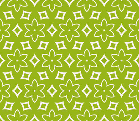 Seamless sophisticated geometric pattern on green background.