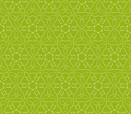 Seamless sophisticated geometric pattern based on repetitive simple line and shape forms. Vector illustration for interior design, backgrounds, card and textile industry in green coloring.