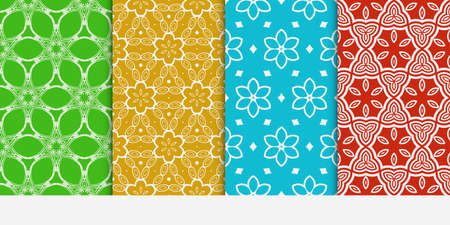 Set of seamless floral color pattern. Ethnic ornament flower style vector illustration. Texture for design wallpaper, pattern fills, web page, banner, flyer.