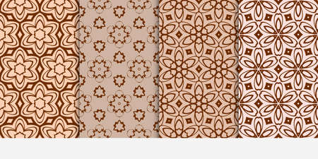 Set of 4 floral seamless pattern with geometry shape and lines in beige color.