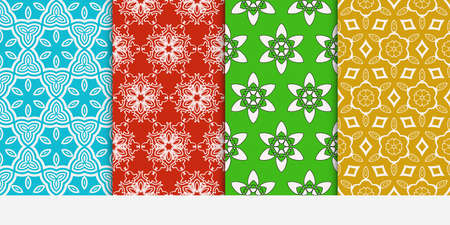 Set of seamless floral color pattern, ethnic ornament, flower style. Illustration