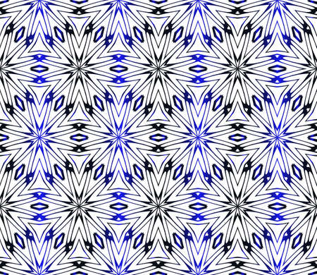 Seamless geometric floral pattern. Vector graphic illustration. Ethnic Arabic Indian ornament. For wallpaper, brochure, web page background. Ilustração