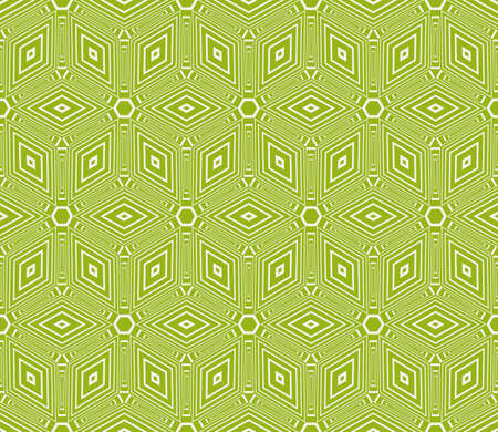 Virtual 3d cube. seamless vector pattern interior decoration, wallpaper, presentation, pattern fills, fashion design in olive color Illustration