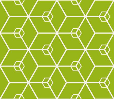 Virtual 3d cube seamless vector pattern. interior decoration, wallpaper, presentation, pattern fills, fashion design in olive color