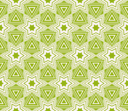 Seamless sophisticated geometric pattern based on repetitive simple line and shape forms. Vector illustration for interior design, backgrounds, card, textile industry in green coloring.