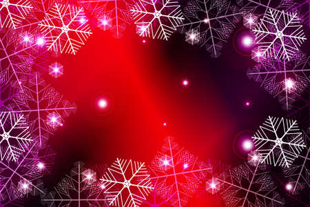Red and purple gradient New Year background. White snowflakes, Vector illustration. Merry Christmas and Happy New year theme. For greeting card, presentation, design Illustration