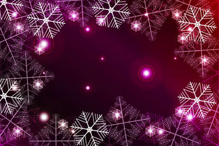 Red and purple gradient New Year background. White snowflakes, Vector illustration. Merry Christmas and Happy New year theme. For greeting card, presentation, design.