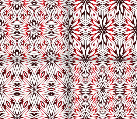 Seamless geometric floral pattern. red color. vector graphic illustration. Ethnic arabic indian ornament. For wallpaper, brochure, web page background. set of 4 pattern