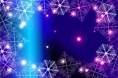 Red and purple gradient New Year background white snowflakes, vector illustration. Merry Christmas and Happy New year theme. For greeting card, presentation, design.