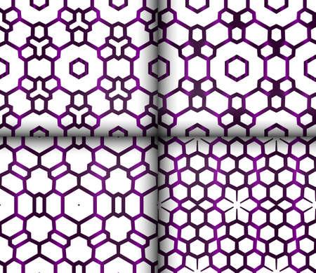 set of 4 geometric seamless patterns. vector illustration. purple gradient Illusztráció