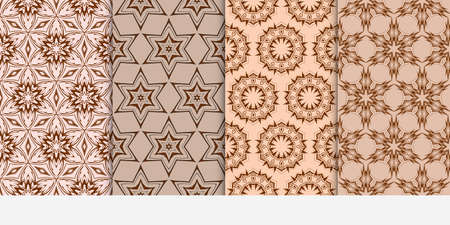 set of 4 floral seamless pattern. abstract geometry shape and lines. vector illustration. Ethnic ornament.  Beige color Illustration