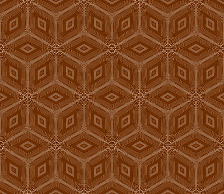 virtual 3d cube. seamless vector pattern. interior decoration, wallpaper, presentation, pattern fills, fashion design. chocolate color Reklamní fotografie - 100487864