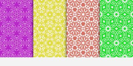 Seamless floral patterns set. Vector illustration. Texture for design wallpaper, pattern fills, web page, banner, flyer. ethnic ornament. Illusztráció