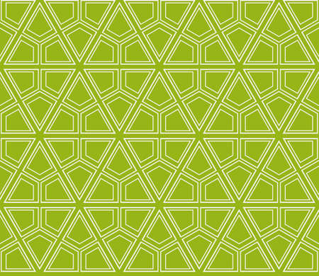 Sophisticated geometric seamless pattern based on repetitive simple line and shape form vector illustration. For interior design, backgrounds, card, textile industry green color. Illustration