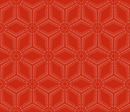 Virtual 3d cube seamless vector pattern. Interior decoration, wallpaper, presentation, pattern fills, fashion design, rose color. Illustration