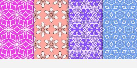 Seamless floral patterns set. Vector illustration. Texture for design wallpaper, pattern fills, web page, banner, flyer. ethnic ornament. blue, purple, rose color