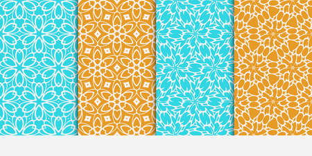 Seamless floral patterns set. Vector illustration. Texture for design wallpaper, pattern fills, web page, banner, flyer. ethnic ornament. blue and orange color  イラスト・ベクター素材