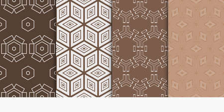set of 4 geometry seamless pattern. abstract geometry shape, lines. vector illustration. modern ornament. brown color. For design, wallpaper, background fills, card, banner, flyer. color