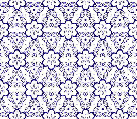 Abstract Vector seamless pattern with abstract floral and leave style. Repeating sample figure and line. blue gradient. For modern interiors design, wallpaper, textile industry