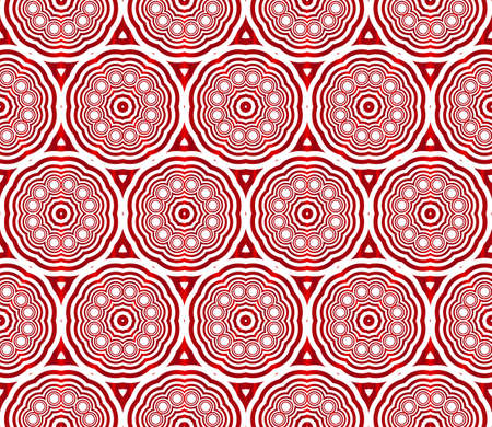 Seamless vector pattern of ovals and circles in red gradient. Vector illustration