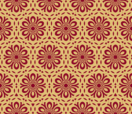 Seamless flower pattern. Abstract vector illustration in gold on red.