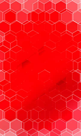 Hexagonal pattern illusion. Red color gradient background. For design, banner, presentation.