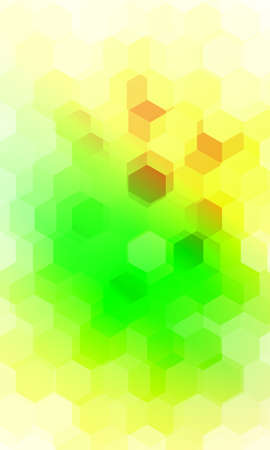 Hexagonal patterns, 3d illusion. Green, yellow gradient banner for design, presentation, business. Illustration