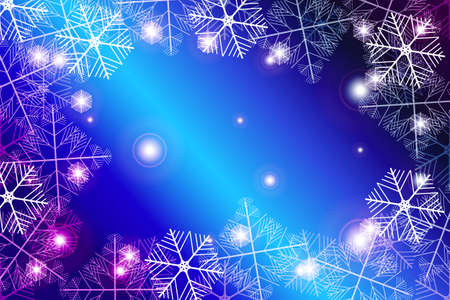 Red and purple gradient New Year background. White snowflakes illustration. Merry Christmas and Happy New year theme. For greeting card, presentation, design.