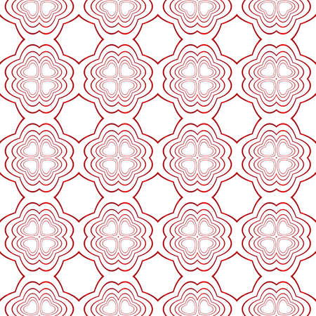 Ovals and circles seamless vector image red gradient.