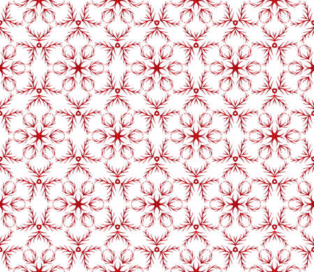 A beautiful Christmas pattern with snowflakes vector illustration on red gradient.